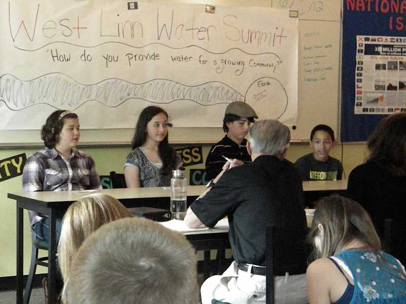 by: SUBMITTED PHOTO: KENDRA FRANKLE - Students presented their speech to a panel of judges, including Mayor John Kovash, during a water summit at Rosemont Ridge Middle School on June 1.