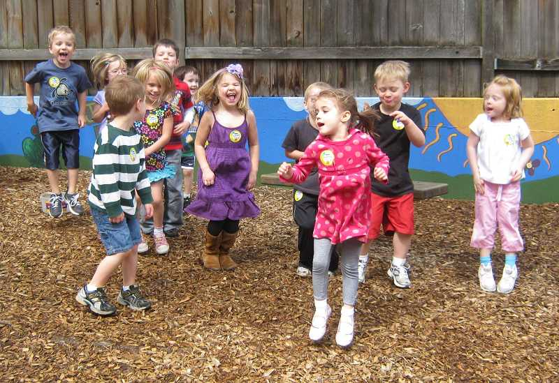 by: SUBMITTED PHOTO - Preschoolers jumped up and down at MAC Preschool and Childcare to help raise money for the Muscular Dystrophy Association.