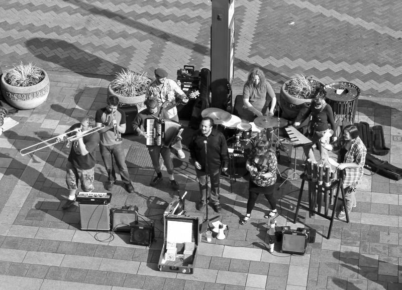 by: SUBMITTED PHOTO -  Left, All the Apparatus has garnered thousands of fans in the Portland area by playing on the streets regularly, drawing diverse crowds in such locations as Pioneer Square. Below, Corbett natives Greenish Grey are part of the indie roots movement that has injected fresh rock & roll energy into styles popular in the past.