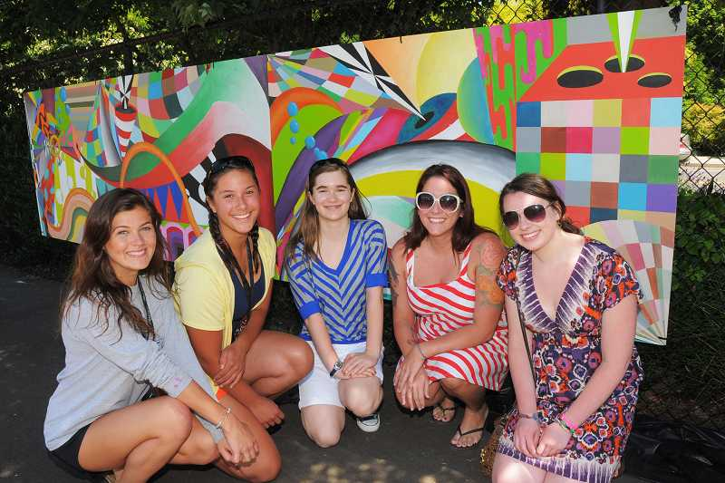 by: VERN UYETAKE - From left, Makenzie Reed, Chase Jutzi, Lacey Doby, Cydny Winslow and Becca Hokinson were present for the unveiling of the mural they worked on.