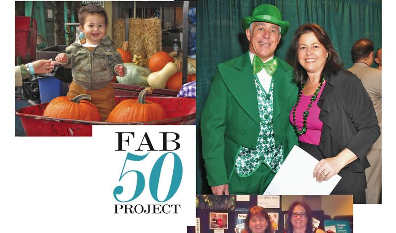 by: CONTRIBUTED PHOTOS FROM SUE PIAZZA. - Sue Piazza, shown with husband Michael Patrick, (upper right) launched the Fab 50 Project last year with a fund raising goal of $50,000 to support local charities who work with children. Piazzas efforts allowed her to present $13,000 checks to six different organizations at her 50th birthday party earlier this month. The group conducted numerous events, including a Harvest Party for homeless children at Liepold Farms last fall (upper left).
