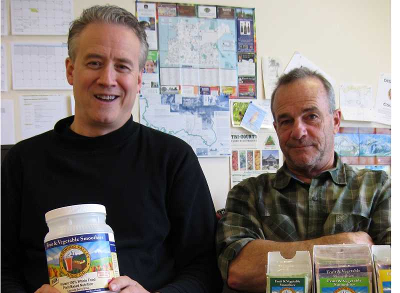 by: RAY PITZ - GOOD STUFF  Peter Stack, left, and David Cascadden, owners of Sherwood Valley Juice Co., display an array of the special powdered smoothies they offer through their Sherwood business.