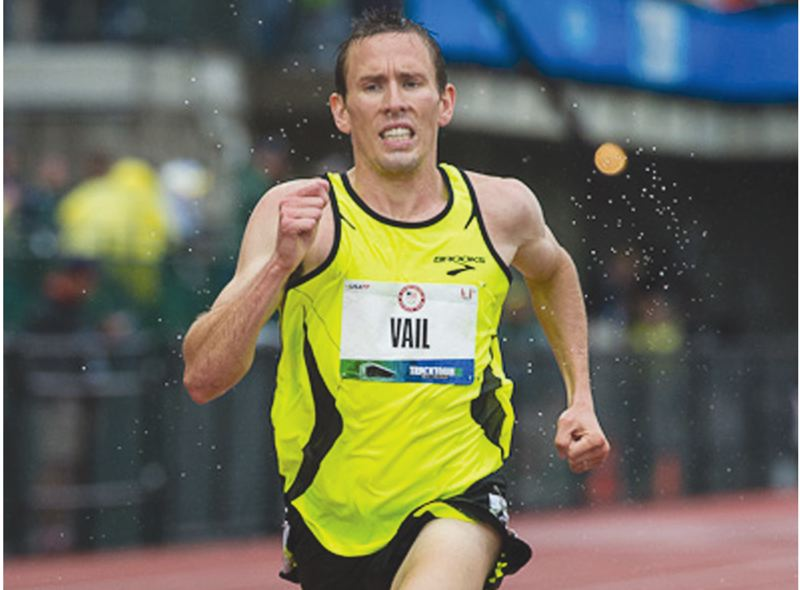 by: PAMPLIN MEDIA GROUP: CLIFF VOLPE - Centennial High graduate Ryan Vail, a Brooks runner, battled harsh rains during Friday nightÄöÑ¥s 10K final at the Olympic Trials in Eugene. He finished sixth in the race, matching his spot at last yearÄöÑ¥s U.S. Nationals.
