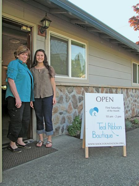 by: PHOTO BY ELLEN SPITALERI - Sheryl Rourke and Ashley Hildreth are ready to welcome shoppers to the Teal Ribbon Boutique in Gladstone; it opens July 7.