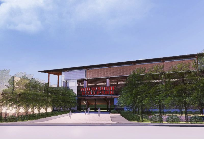 by: SUBMITTED RENDERING - This rendering of a stadium shows what the McLoughlin Boulevard entrance of a ballpark could look like in Milwaukie.