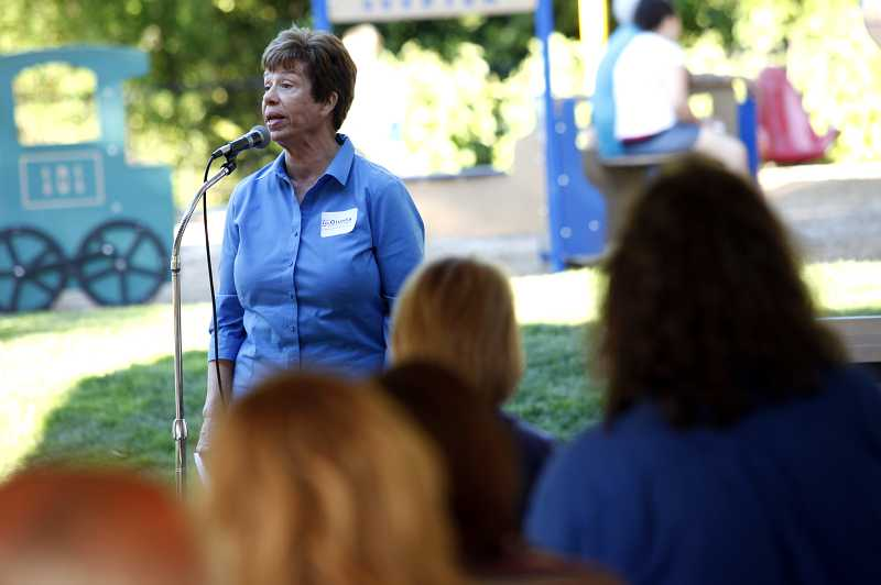 by: JONATHAN HOUSE - Jan Giunta announces her candidacy for Tualatin City Council at Tualatin Community Park, saying that the 'mayor and council need to hold themselves accountable.'