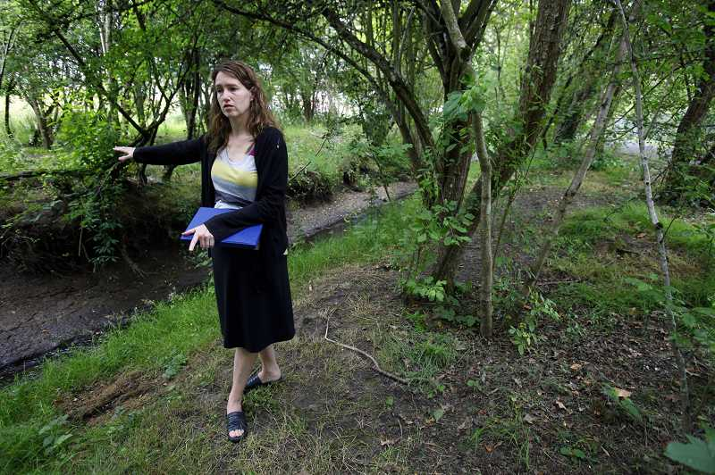 by: JONATHAN HOUSE - Leigh Crabtree talks about the improvements the city of Beaverton is planning for Hall Creek to make the stream cleaner and the banks more walkable.