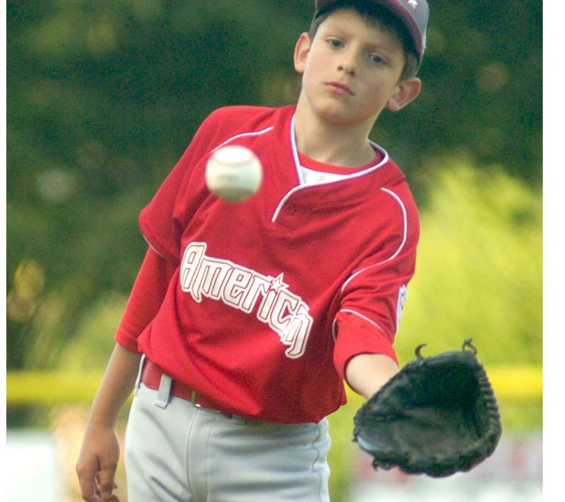 by: THE OUTLOOK: DAVID BALL - Gresham starter Josiah Wolcott catches a ball on the mound.