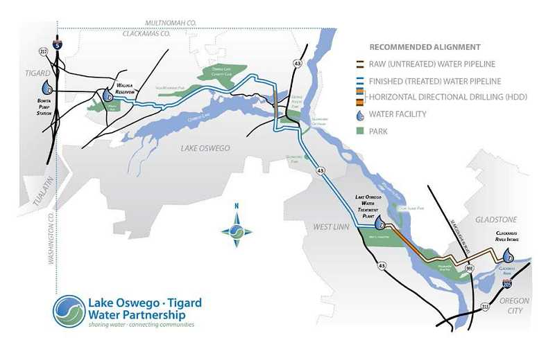 by: SUBMITTED - This map outlines the route a proposed water pipeline will run from Gladstone, through West Linn and Lake Oswego and into Tigard.