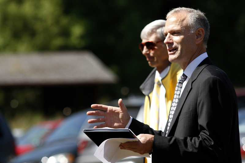 by: TIMES PHOTO: JAIME VALDEZ - Tigard-Tualatin School District Superintendent Saxton speaking at a special ceremony for Art Rutkin in 2011. on Thursday Saxton was appointed to run the state's Department of Education.