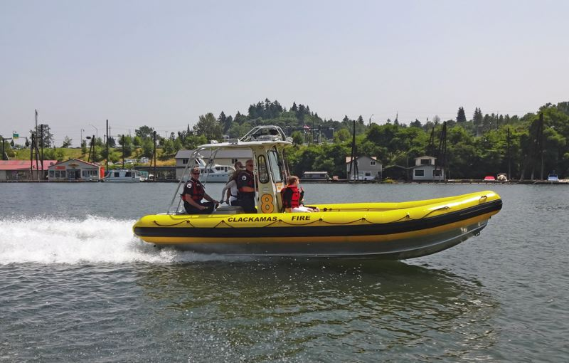 by: PHOTO COURTESY OF CLACKAMAS FIRE DISTRICT NO. 1 - This inflatable is capable of traveling in six inches of water while on plane with speeds approaching 60 mph.
