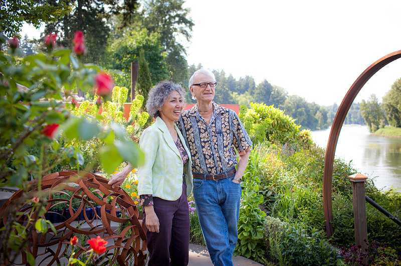 by: JAN SONNENMAIR - Sherry Sheng and her husband, Spike Wadsworth, enjoy their garden at their home in West Linn along the Willamette River. Sheng has committed $1.2 million from her estate to Oregon State University's Master Gardener program, the largest in the program's 36-year history.