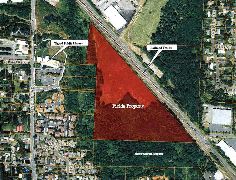 The land is bordered by the Tigard Public Library to the west and Southwest Hunziker Road to the north. Map courtest of the city of Tigard