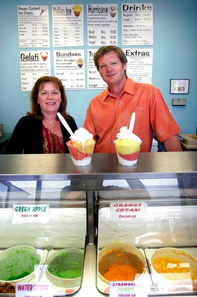 by: JIM CLARK - Sally and Glen Mackey are the owners of the newly opened JGelati in Troutdale. They sell Italian ices served with frozen custard.
