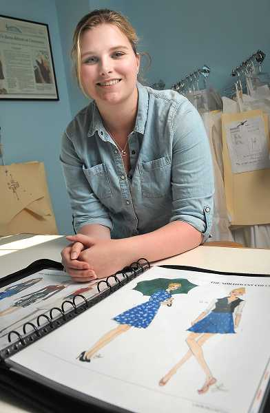 by: STAFF PHOTOS: VERN UYETAKE - Lakin McCarthy, who created an inspiration book of designs and sketches when she was going through treatment, focuses over her work for Michelle DeCourcy.