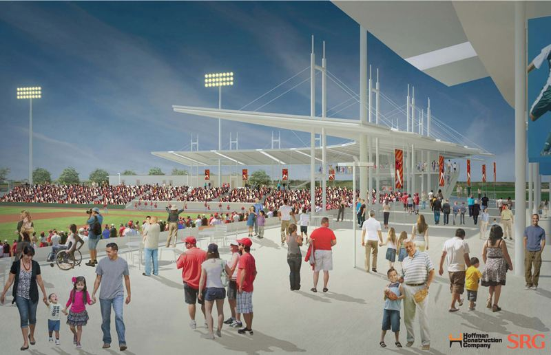 by: HOFFMAN CONSTRUCTION/SRG PARTNERSHIP - The minor league baseball stadium planned for Hillsboro has strong of support among Washington County residents. This artistic rendering shows it on a game day.