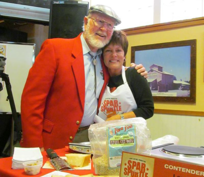 by: ELLEN SPITALERI: CLACKAMAS REVIEW - Bob Moore of Bob's Red Mill hugs Golden Spurtle cook-off winner Laurie Figone of Petaluma. She won Friday afternoon's cooking contest using steel cut oatmeal.