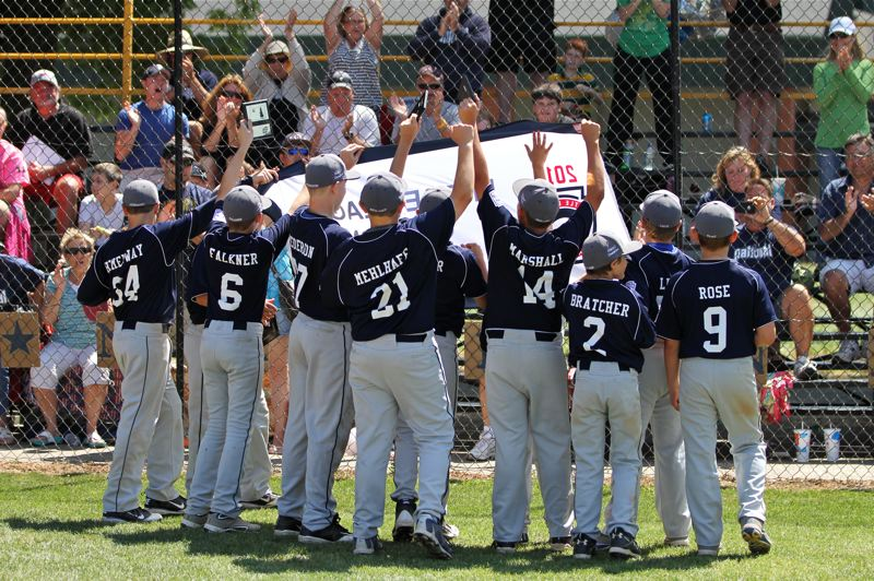 by: CONTRIBUTED PHOTO: DEBBIE MEHLHAFF - The Nationals had plenty of reason to celebrate after beating Post Falls 8-4 on Saturday to gain a spot in next weeks Little League World Series.