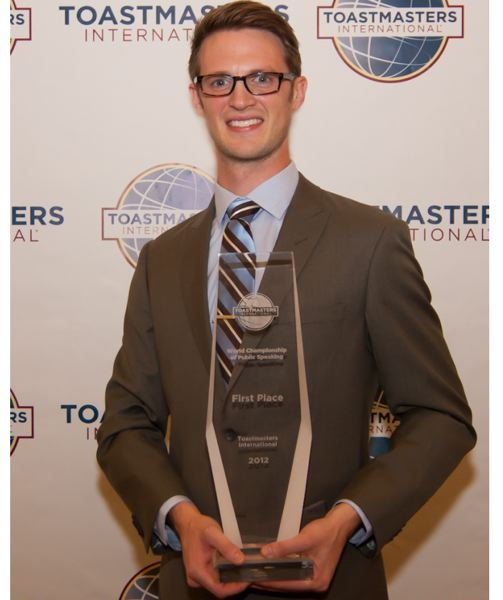 by: COURTESY OF TOASTMASTER INTERNATIONAL - Portland's Ryan Avery is the youngest person to win the Toastmaster International World Champion Public Speaker trophy. He took top honors Saturday, Aug. 18, at the Toastmaster convention in Orlando.