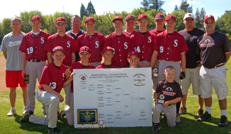 by: SUBMITTED PHOTO - SHERWOOD CHAMPS -- The Sherwood Senior Federal baseball team went 4-0 in play at the JBO state tournament.