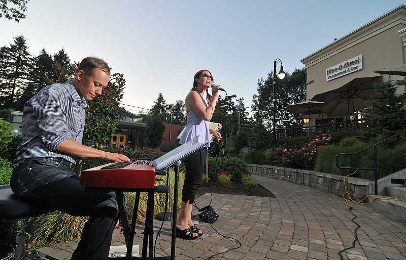 The amphitheater-like space below West Linn's (five-0-three) restaurant provides the perfect acoustics and atmosphere for a fun evening of relaxation and listening to live music.