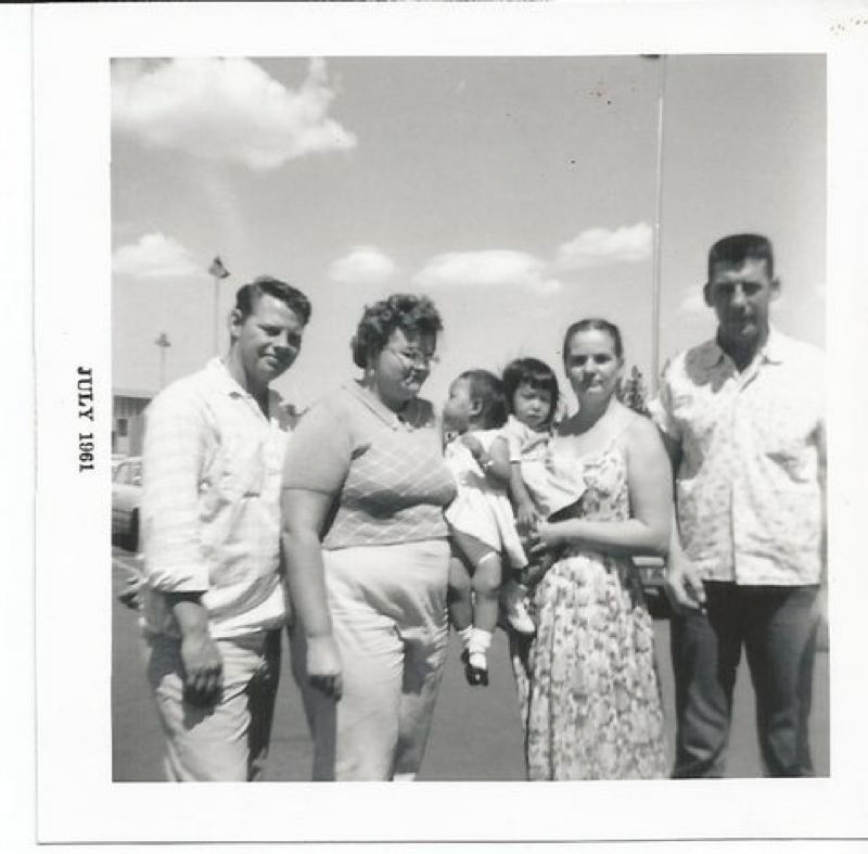 by: PHOTO COURTESY OF LORI STEGMANN - Charles and Joy Smith, left, with daughter Kim, alongside Edna and Walter Stegmann, right, with daughter Lori.