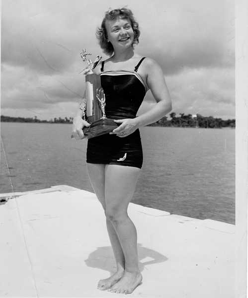 by: SUBMITTED PHOTO: WESTERN WATER SKI MUSEUM - Willa Worthington poses prettily with one the the trophies she won during the 1940s and 50s.