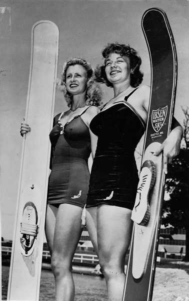 by: SUBMITTED PHOTO: WESTERN WATER SKI MUSEUM - Blondes have more fun when they water ski. Proving this were Willa Worthington, right, and one of her competitiors at a water skiing championship.