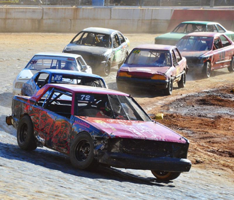 by: JOHN BREWINGTON - Kyle Frelich leads during his 4-cylinder heat race Sunday at River City Speedway. He would go on to win the race and would later come up first in the main event. There were two days of racing at the track over Labor Day Weekend.