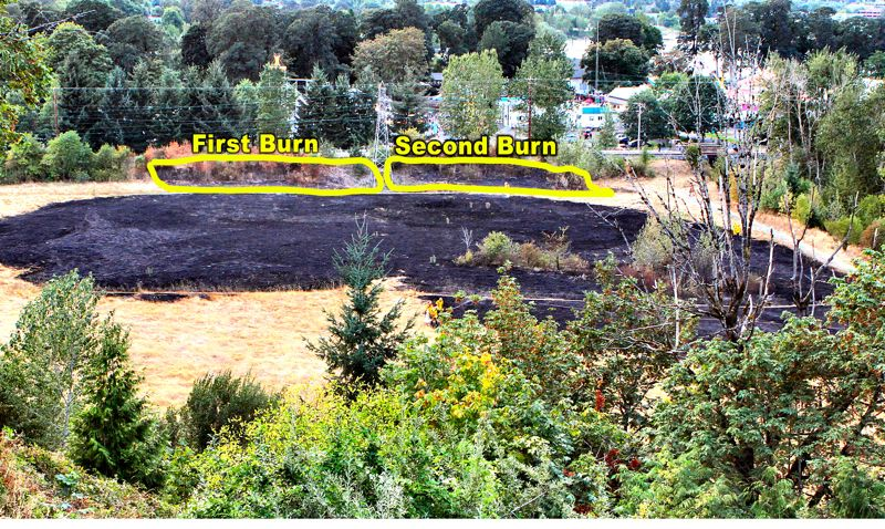 by: DAVID F. ASHTON - This view from above shows the large area burned by the third brushfire east of Oaks Amusement Park, in Oaks Bottom, on August 28th, with the much smaller previous two fires that occurred eleven days and four days previously marked for comparison.