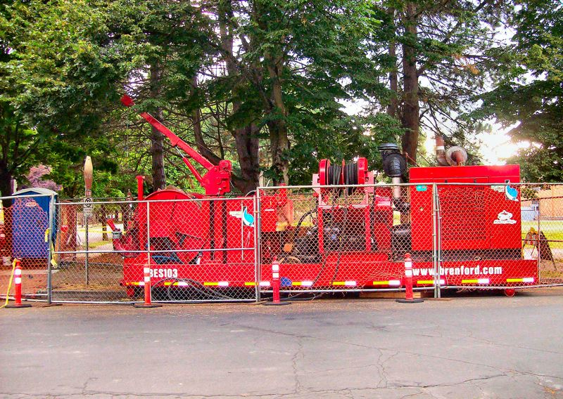 by: RITA A. LEONARD - The Big red 'Sewer Hogs' at S.E. 16th and Center Street was brought in, in July, to clean out the large-diameter underground pipes.