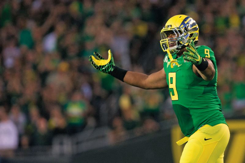 by: TRIBUNE PHOTO: CHRISTOPHER ONSTOTT - True freshman Arik Armstead has moved into the starting lineup already as a defensive lineman with the Oregon Ducks.