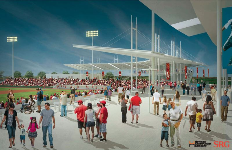by: COURTESY OF HOFFMAN CONSTRUCTION CO./SRG - COURTESY OF HOFFMAN CONSTRUCTION CO./SRG A rendering shows the new baseball stadium that will be constructed in Hillsboro as the home for a single-A team. The project breaks ground Sept. 21.