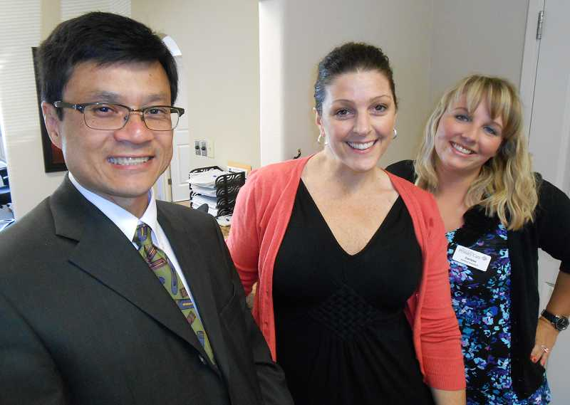 by: REVIEW, TIDINGS PHOTO: CLIFF NEWELL - Personalized care is the specialty at West Linn Primary Care. From the left are Dr. Huey Meeker, office manager Kelly Klingele, and medical assistant Carissa Haines.