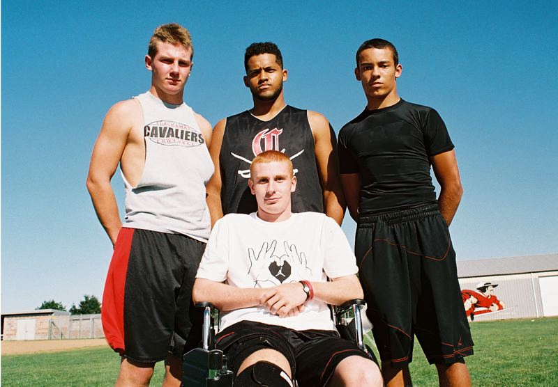 by: JOHN DENNY - They are off to their best start since 2005 and the Clackamas Cavaliers aim to begin a turnaround in football this year, despite a season-ending injury to last years starting quarterback, Cade Wilkins. Pictured with Wilkins are (from left) co-captains Zach Farnes, Jon Kenion and Erick Douglas III.