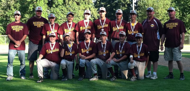 by: SUBMITTED - Milwaukies Senior American baseball team experienced plenty of success this summer, placing fourth in the county Junior Baseball Tournament and finishing with an overall record of 15-5. Vying for the standout team of 13- and 14-year-olds were: (front row, from left) Robby Santos, Zane Robinson, Dalton Libbey, Brad McVay, Aaron Wenger and Matthew Yerman; and (back) coach Ted Maier, coach Kevin Miller, Noah Miller, Darrin King, Max Schmich, Riley Howard, Gunner Murk, Theo Dover, coach Lucas Murk and coach Dave Howard.