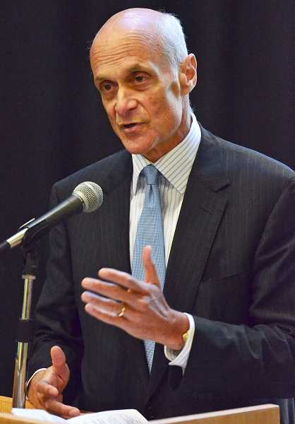 by: VERN UYETAKE - Former Secretary of Homeland Security Michael Chertoff addresses students at Lewis & Clark Law School Tuesday.