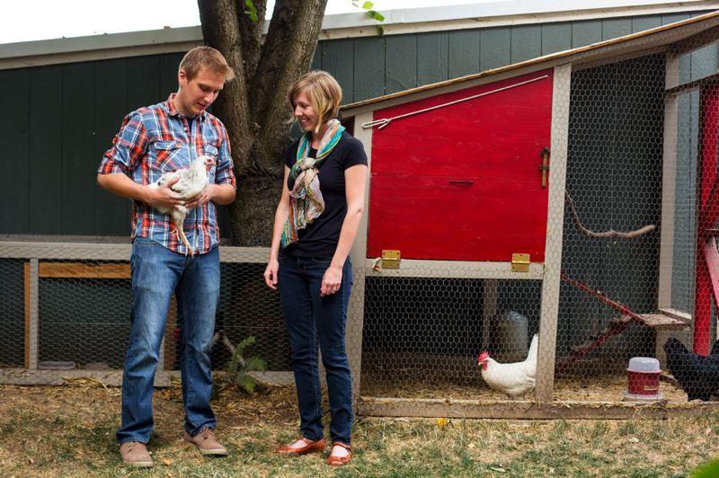by: TRIBUNE PHOTO: CHRISTOPHER ONSTOTT - Dillon and Jenny Mahmoudi chose a frugal Portland lifestyle, complete with backyard chickens, over steady incomes in Austin, Texas. Dillon co-created the Badass map, which ranks Portland neighborhoods based on their access to unique (and inexpensive) lifestyle amenities enjoyed by young adults in Portland.