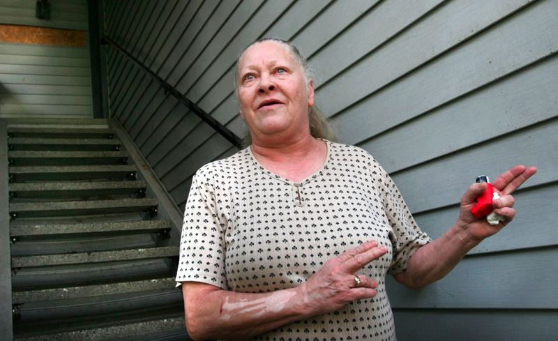 by: JIM CLARK/FILE PHOTO - Sandra Kelley, mother of Larry McKinney, describes what happened leading up to the shooting Jan. 27-28 that left her son dead at the top of the stairs. Kelley is suing the city of Fairview, the Fairview Police Department and the two officers involved in the shooting.