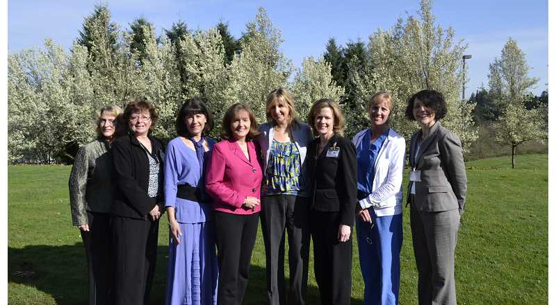 by: SUBMITTED PHOTO - The steering committee of the Women of Meridian Park include from left Connie Taylor, Cindy Haldorson, Cyndie Glazer, chairwoman Cheryl Dotten, Erin Miller, Allyson Anderson, vice president Chief Administrative officer of Meridian Park Medical Center, Michelle Beilstein, M.D., and Julie Goodwin.  Not pictured are Candace Jennings, Ann Thompson, Anne Rader, M.D. and Kelly Sloop.