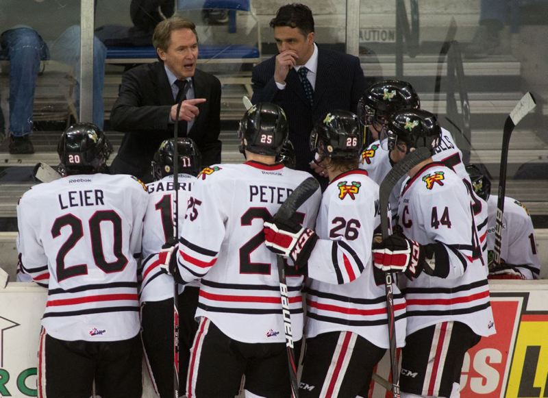 by: TRIBUNE FILE PHOTO: CHRISTOPHER ONSTOTT - Coach Mike Johnston (left) and assistant coach Travis Green talk to the Portland Winterhawks during the final game of their playoff series with Kamloops last season. Johnston and Green offer their comments now on the 24 players Portland has on its roster going into Friday's season opener at home against Seattle.