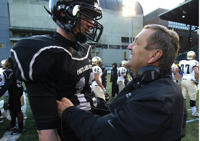 by: TRIBUNE FILE PHOTO: JAIME VALDEZ - Mouse Davis (right) congratulates Portland State quarterback Drew Hubel during a 2008 game. Davis, former PSU coach, has been named to the Oregon Sports Hall of Fame. He'll be inducted Nov. 13 at Multnomah Athletic Club.