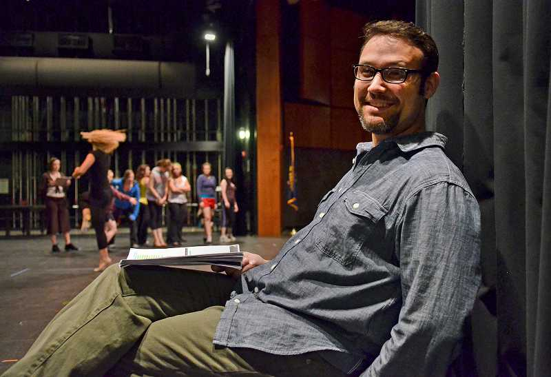 by: VERN UYETAKE - Professional actor by night and Lakeridge drama instructor by day, Joe Theissen takes a break during rehearsal for Pixie Dust Productions Legally Blonde, the Musical, which opens Sept. 22.