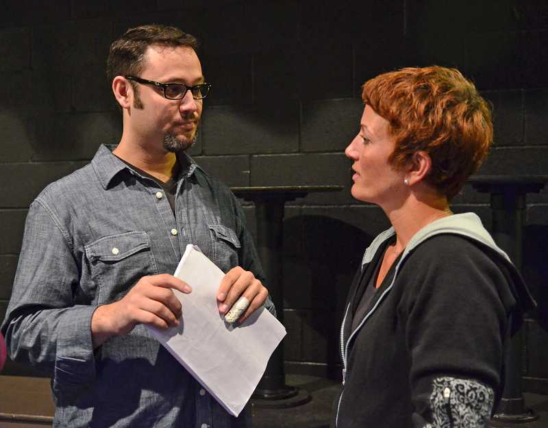 by: VERN UYETAKE - Theissen as Professor Callahan and Pam Mahon, who plays Brooke Wyndham, chat backstage during rehearsal.
