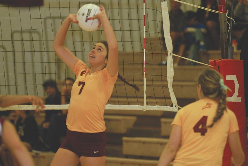 by: THE OUTLOOK: DAVID BALL - Central Catholic setter Camille Foster puts a ball in play up front during the Rams' three-game sweep over Gresham on Thursday night.