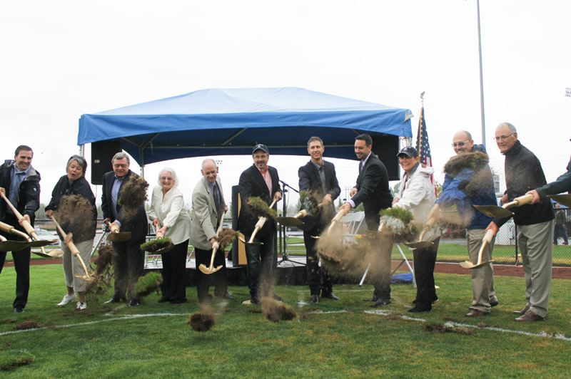 by: HILLSBORO TRIBUNE: CHASE ALLGOOD - Hillsboro and Washington County officials toss shovels of dirt Friday morning during the groundbreaking for a new baseball stadium. The Single-A Yakima Bears will play in the city beginning next summer.