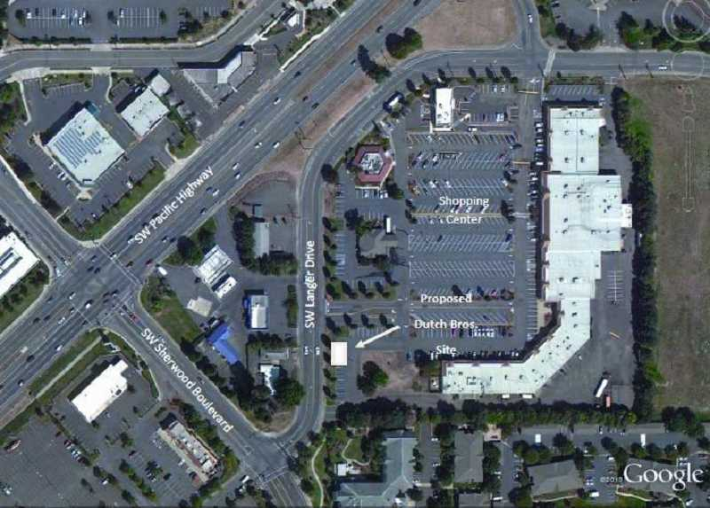 by: CITY OF SHERWOOD PLANNING DEPARTMENT DOCUMENTS - BIRDS-EYE VIEW -- The arrow points to the Sherwood Plaza site where Dutch Brothers hopes to locate.