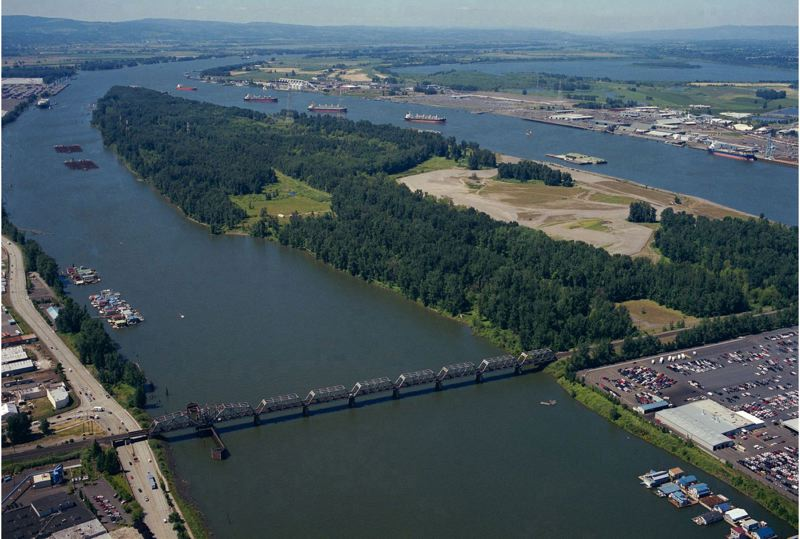 by: COURTESY OF PORT OF PORTLAND - Seen from above, West Hayden Island includes acres of land the Port of Portland wants to turn into industrial land. The plan faces opposition from area residents and environmental groups who want more land protected for wildlife habitat and open space.