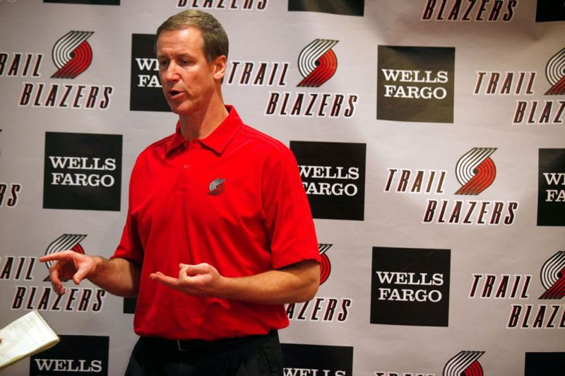 by: TRIBUNE PHOTO: JONATHAN HOUSE - Trail Blazers coach Terry Stotts discusses the upcoming season.