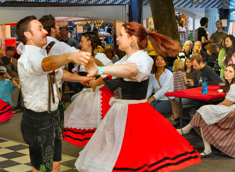 by: DAVID F. ASHTON - Erich Hacker and Sarah Curls of the Tyrolean Dancers demonstrate the Zillertaler.